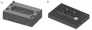 Hình 3. Mô hình hình học bàn khuôn  dưới (a) và bàn khuôn  trên  (b) sử dụng  để mô phỏng