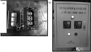 Hình 6. Bộ khuôn ép đế chân cầu dao (a) và hệthống gia nhiệt trực tiếp trên khuôn (b)