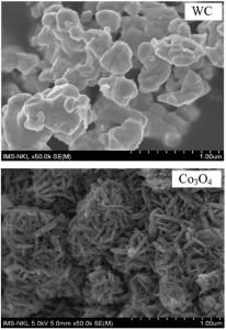 Hình 2. Ảnh FESEM và giản đồ nhiễu xạ tia Xcủa bột WC và Co3O4