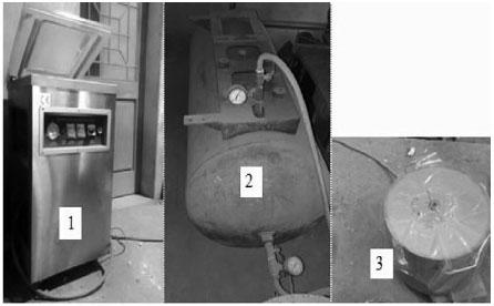Hình 4. Cụm thiết bị đo độ thông khí của sơn(1:máy hút chân không, 2: bình ổn áp chân không,3: thùng hút chân không cho mẫu)
