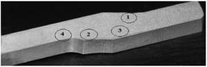 Hình 5. Vị trí xem tổ chức tế vi trên mẫu gia công cắt gọt