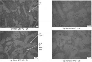 Hình 3.3. Tổ chức tế vi mẫu sau ram ở các nhiệt độ khác nhau