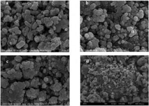Hình 3. ảnh SEM  của mẫu bột nghiền thời gian khác nhau (a) 1 h; (b) 5 h; (c) 10 h và (d) 20 h