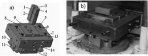Hình 10. Phương pháp ép phôi khó biến dạng: a-mô hình khuôn; b-khuôn sau lắp ráp